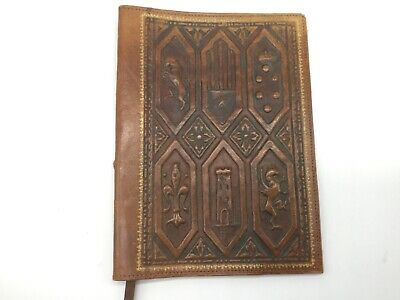 Vintage Embossed Tooled Brown Leather Book Cover Book Mark