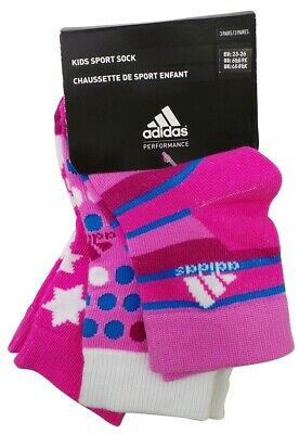 Adidas Kids Sport Socks Includes 3 Pairs In UK Girls Sizes 3 to 12