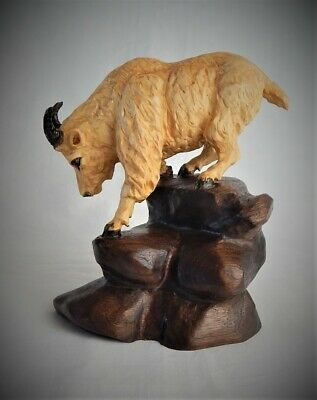 Mountain Goat Original Maple And Walnut Wood Carving  Sculpture By Joan Kosel