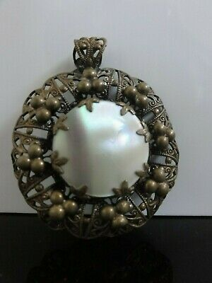 Victorian Antique Czech Mother Of Pearl Beautiful Ornate Brass Pendant
