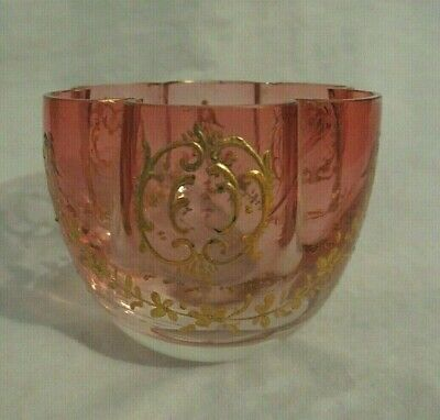 "MOSER KARLSBAD AUSTRIA PINK CRANBERRY & GOLD SMALL BOWL (2.5"" tall)"