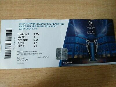 REAL Madrid ATHLETICO Madrid Spain 2016 Champions League FINAL Milan USED ticket