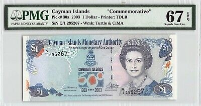 "Cayman Islands 2003 P-30a PMG Superb Gem UNC 67 EPQ 1 Dollar ""Commemorative"""