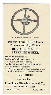 Lion Lock Steering Wheel FORD Car Automobile Advertising Business Card Haverhill