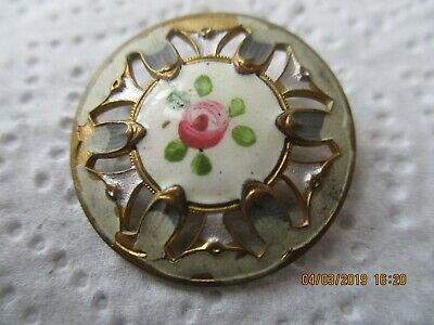 Antique Button ,Hand Painted . French  Enamel ,Pierced , 2 Cm 7 Mm