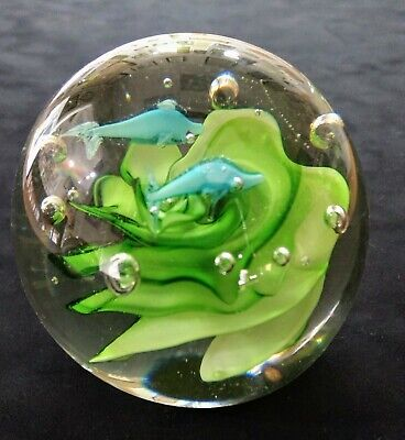 Vintage Art Glass Paperweight Hand Blown Fish and Seaweed Aquarium 1970s Bubbles
