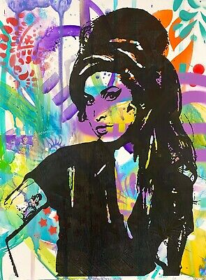 Dean Russo Art Unique one of a kind hand painted print Amy Winehouse music