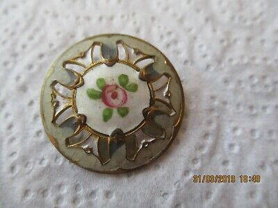 Antique Victorian Button , Hand Painted ,French , Enamel , Pierced , C 1850 +