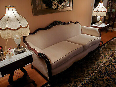 Beautifully Carved Victorian Couch and Club Chair