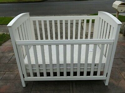 White Boori Country Cot with Boori mattress, both in excellent condition