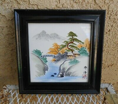 Vintage Ceramic Art Painted Japanese Tile Mountain Snow River Hut Japan w/ Frame
