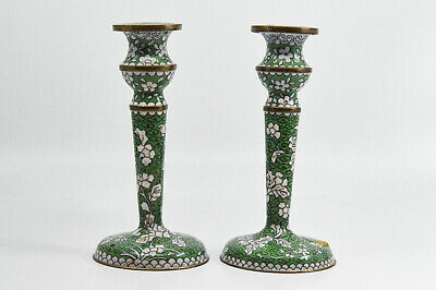 Antique Chinese Export Cloisonne Pair Candle Sticks Holders, 6 inches tall - 🐘
