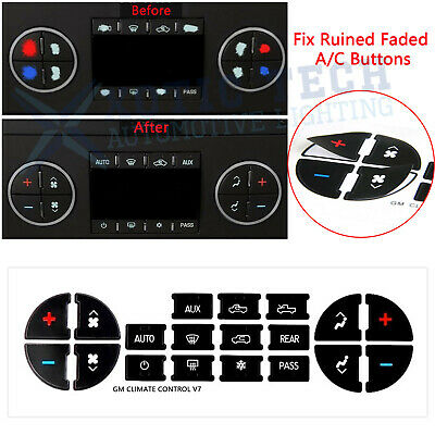 Black Vinyl AC Dash Button Repair Kit Decal Stickers Replacement for Chevy GMC