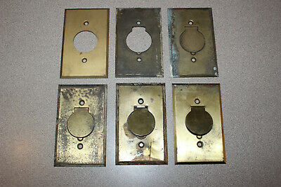 6 Vintage Brass Round Socket Outlet Cover Plates Great Architectural Salvage