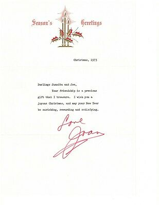 Joan Crawford Authentic Autographed 8X10 Christmas Greeting Letter with COA