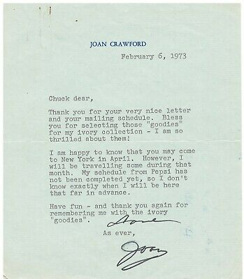 Joan Crawford Authentic Autographed 6X7 Personal Letter with envelope and COA