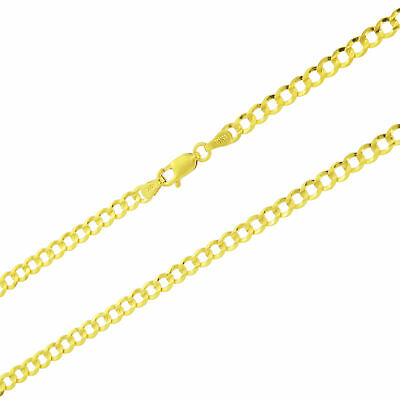 Real 10K Yellow Gold Solid 4mm Cuban Link Curb Chain Pendant Necklace 20in 20""