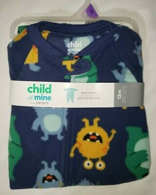 Child Of Mine By Carter's Size 12 Months Fleece Zippered Footed Pajamas Monster