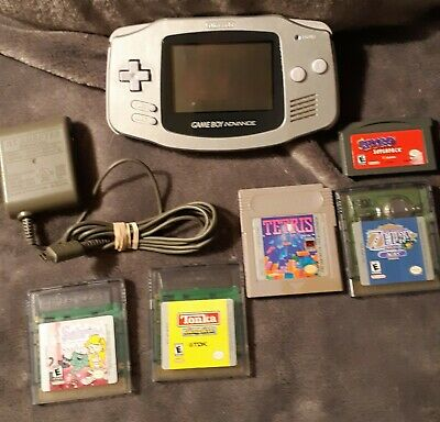 Nintendo Game Boy Advance Silver Handheld System with Games