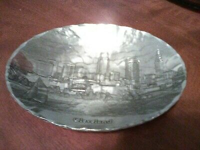 Wendell August Forge hammered aluminum oval Tray CLEVELAND skyline