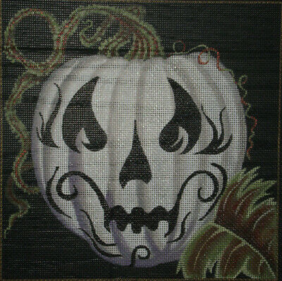 "Leigh Handpainted Needlepoint Canvas  ""Spookin""  White Pumpkin Ghost $152  Hp Np"