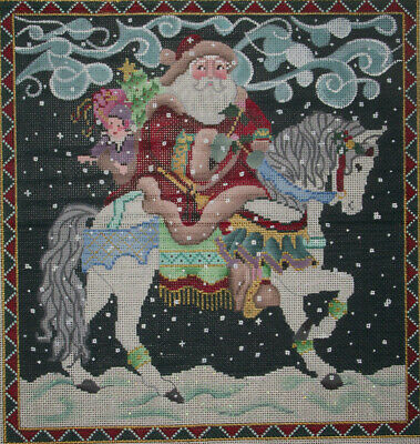 Brenda Stofft Handpainted Needlepoint Canvas  Santa On Horseback  Hp Np