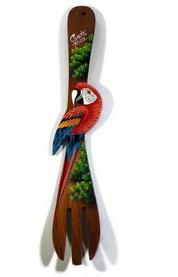 Hand Carved Costa Rican Hand Painted Parrot Collectible Wall Hanging Wood Fork