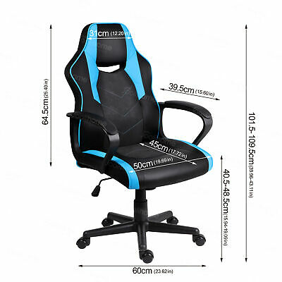 Office Rocking Chair Computer Adjustable Swivel Recliner PU Leather Black Blue
