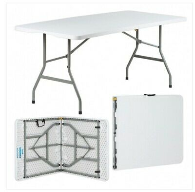 6Ft Heavy Duty Folding Table Portable Plastic Camping Garden Party Catering Feet