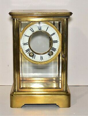 Vintage American Mantle Clock Glass and Brass Case with Dial