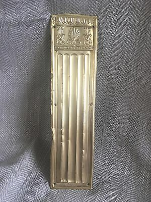 Antique Brass Door Finger Plate Push Original Victorian Salvaged Reclaimed