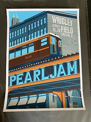 Steve Thomas Pearl Jam Wrigley Field 2018 L Train concert poster mint condition