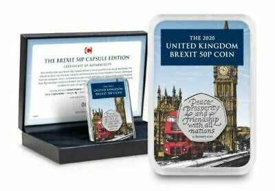 BREXIT 50p COIN 2020 IN CAPSULE AND PRESENTATION BOX IN HAND ONLY 995 PRODUCED