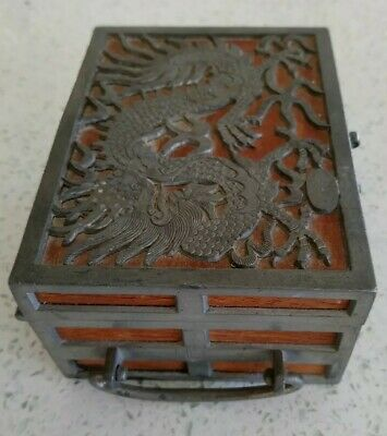 Antique Signed Kut Hing Swatow Chinese Pewter & Wood Hinged Box Dragon Design