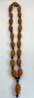 Vintage Chinese Hediao Fruit Nut Carved Lohan Arhat Amethyst Buddha Beads Prayer