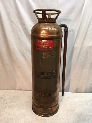 Vintage Red Star  Fire Extinguisher, Brass & copper, empty United States Navy