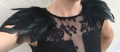Pair of black Raven feathered epaulettes with clips