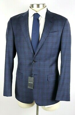 $2395 Giorgio Armani Black Label Soft Blue Check Wool Jacket Coat 38 R (48 EU)