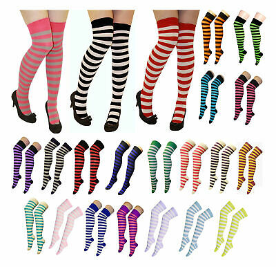 Ladies Girls Long Over The Knee Cotton assorted Socks Attractive Colours Fashion