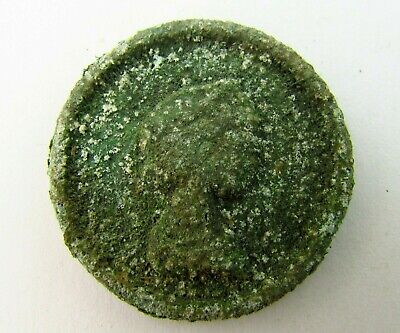 ANCIENT ROMAN Bronze APPLIQUE Depicting Emperor circa 100 - 300 AD  (V108)