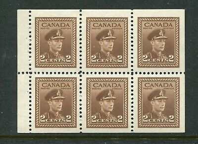 CANADA Scott 250b - NH - 2¢ Brown War Issue Booklet Pane of 6 (.087)