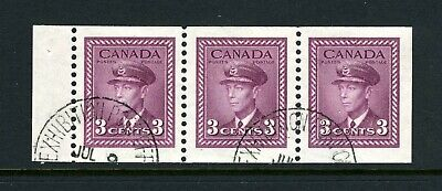 CANADA Scott 252b - USED - 3¢ Rose Violet War Issue Booklet Pane of 3 (.177)