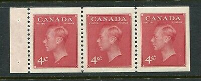 """CANADA Scott 287a - NH - 4¢ Carmine """"POSTES-POSTAGE"""" Booklet Pane of 3 (.036)"""