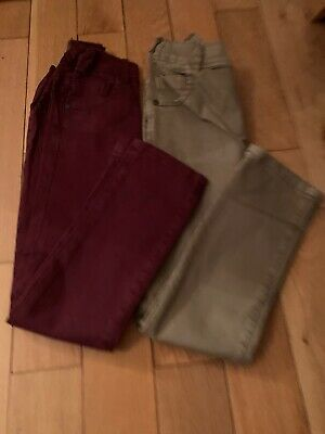 Next Boys 4-5 Years Stretch Chino Jeans X2 Stone/wine Hardly Worn Vgc