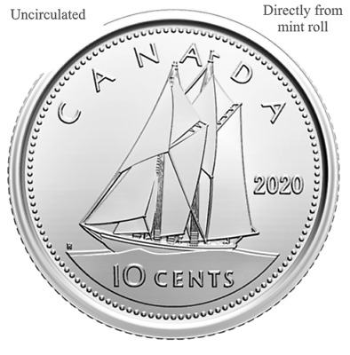 CANADA 2020 New 10 cents DIME ORIGINAL BLUE NOSE (UNC Directly from mint roll)