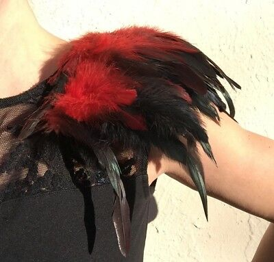 Feather Epaulettes, Black and Red colour Shoulder Pads
