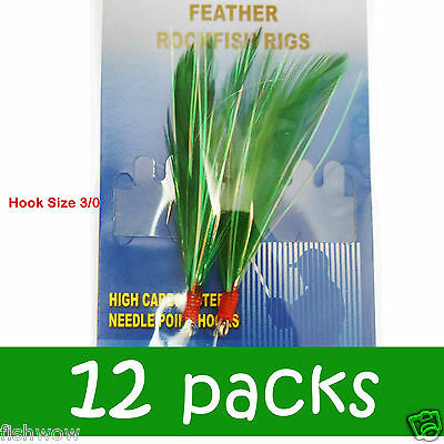 20packs size 3//0 Fishing 2Hooks RockFish Rigs Feather Rock Cod Fish Baits 4c New