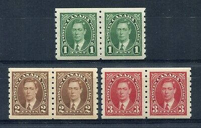 CANADA Scott 238 to 240 - NH - Set of George VI Mufti Coil Pairs (.045)