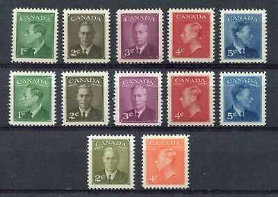 CANADA Scott 284-288 + 289-293 + 305 306 -NH- POSTES-POSTAGE With/Omitted (.008)