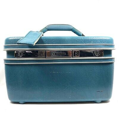 Vintage Samsonite Train Case Light Blue Make Up Suitcase Carry On Luggage